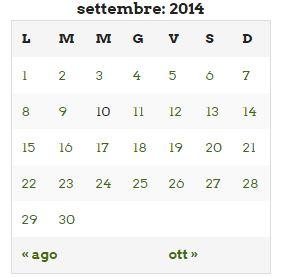 calendario settembre 2014