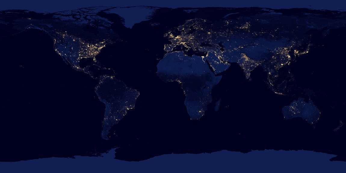 """NASA image acquired April 18 - October 23, 2012 This new image of the Earth at night is a composite assembled from data acquired by the Suomi National Polar-orbiting Partnership (Suomi NPP) satellite over nine days in April 2012 and thirteen days in October 2012. It took 312 orbits and 2.5 terabytes of data to get a clear shot of every parcel of Earth's land surface and islands. The nighttime view of Earth in visible light was made possible by the """"day-night band"""" of the Visible Infrared Imaging Radiometer Suite. VIIRS detects light in a range of wavelengths from green to near-infrared and uses filtering techniques to observe dim signals such as gas flares, auroras, wildfires, city lights, and reflected moonlight. In this case, auroras, fires, and other stray light have been removed to emphasize the city lights. Named for satellite meteorology pioneer Verner Suomi, NPP flies over any given point on Earth's surface twice each day at roughly 1:30 a.m. and 1:30 p.m. The spacecraft flies 824 kilometers (512 miles) above the surface in a polar orbit, circling the planet about 14 times a day. Suomi NPP sends its data once per orbit to a ground station in Svalbard, Norway, and continuously to local direct broadcast users distributed around the world. The mission is managed by NASA with operational support from NOAA and its Joint Polar Satellite System, which manages the satellite's ground system. NASA Earth Observatory image by Robert Simmon, using Suomi NPP VIIRS data provided courtesy of Chris Elvidge (NOAA National Geophysical Data Center). Suomi NPP is the result of a partnership between NASA, NOAA, and the Department of Defense. Caption by Mike Carlowicz. Instrument: Suomi NPP - VIIRS Credit: NASA Earth Observatory Click here to view all of theEarth at Night 2012 images Click he"""