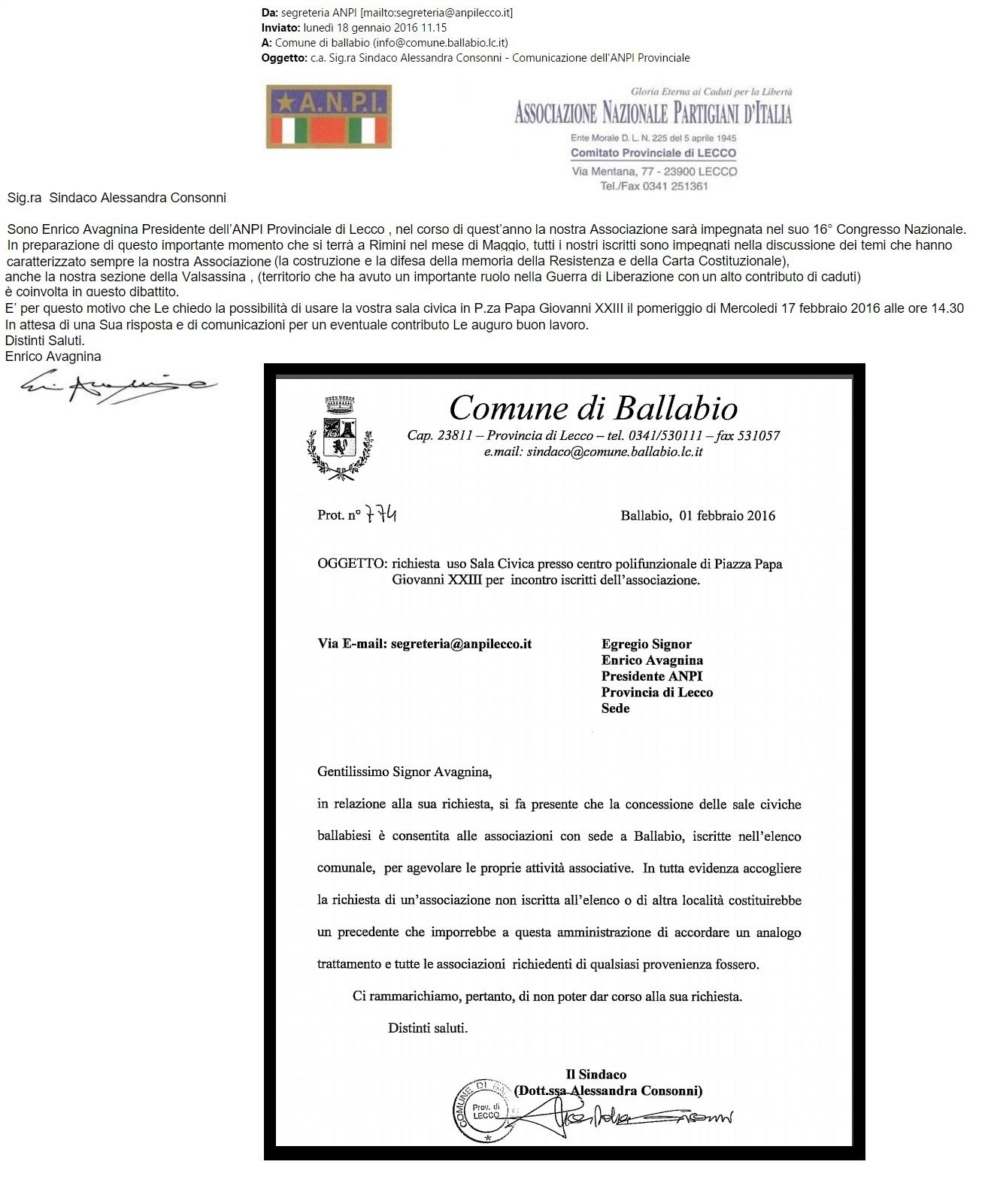 ANPI RICHIESTA E RIFIUTO BALLABIO
