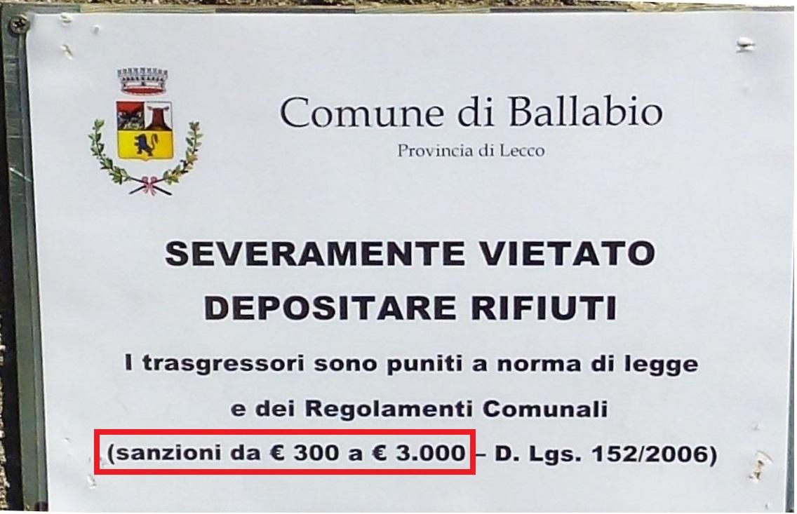 ballabio MAXI MULTE rifiuti - DETTAGLIO 3MILA EURO
