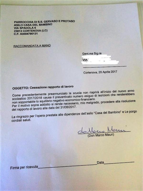 LICENZIAMENTO ASILO BINDO