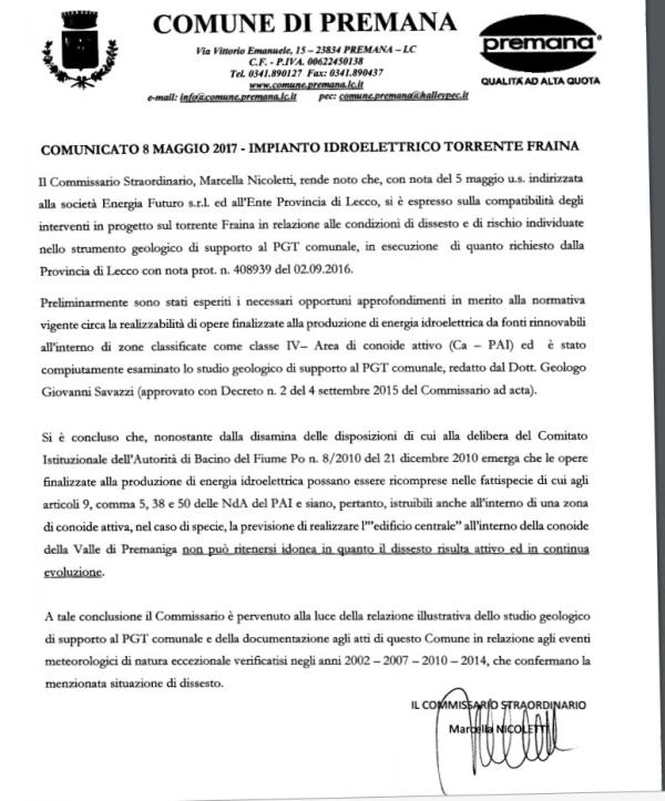 NOTA COMMISSARIO PREMANA SU FRAINA