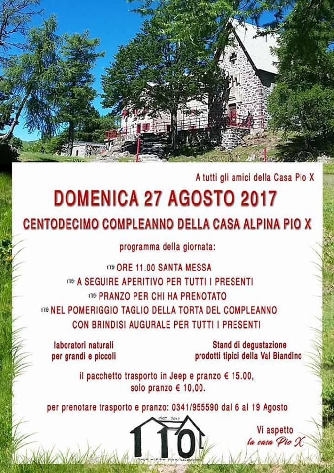 Volantino Festa Casa Alpina Pio X