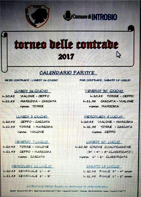 nuovo calendario modificato torneo contrade