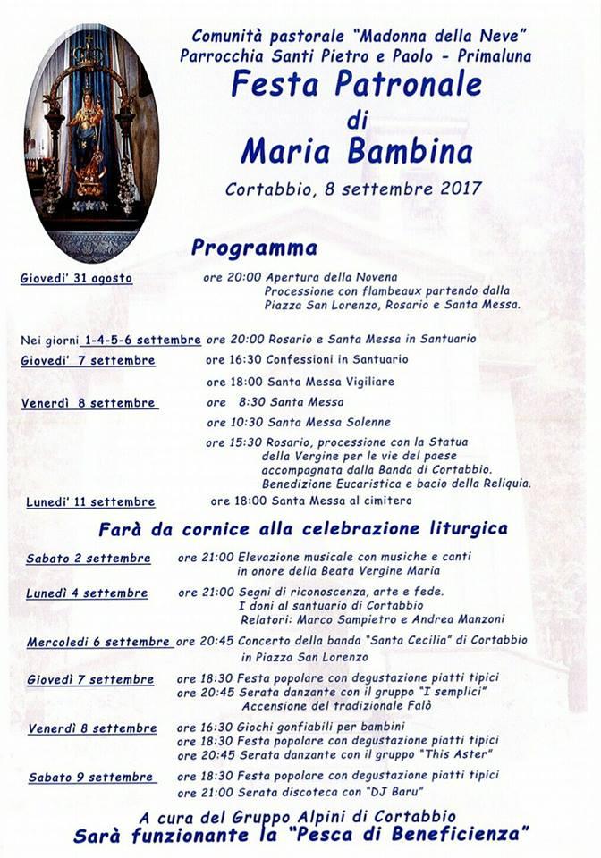 Volantino Maria Bambina Cortabbio 2017
