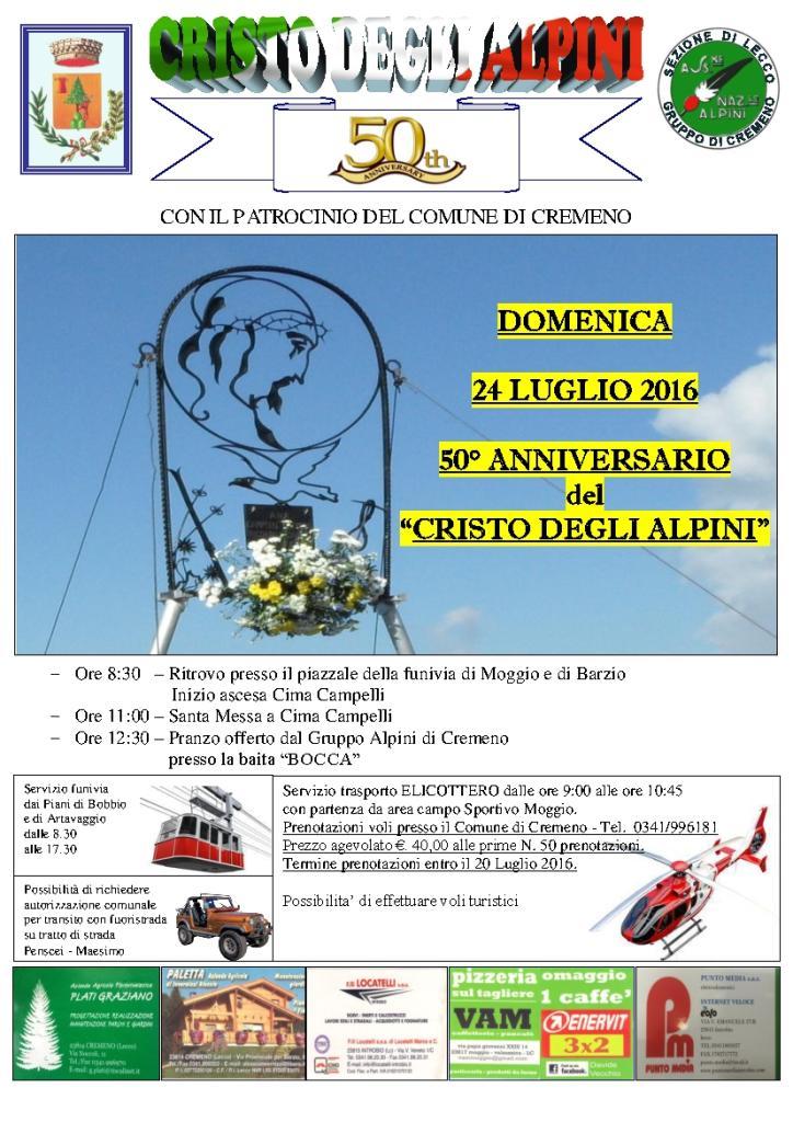Locandina Festa Annuale del Cristo degli Alpini 2016 - 50 Anniversario-01