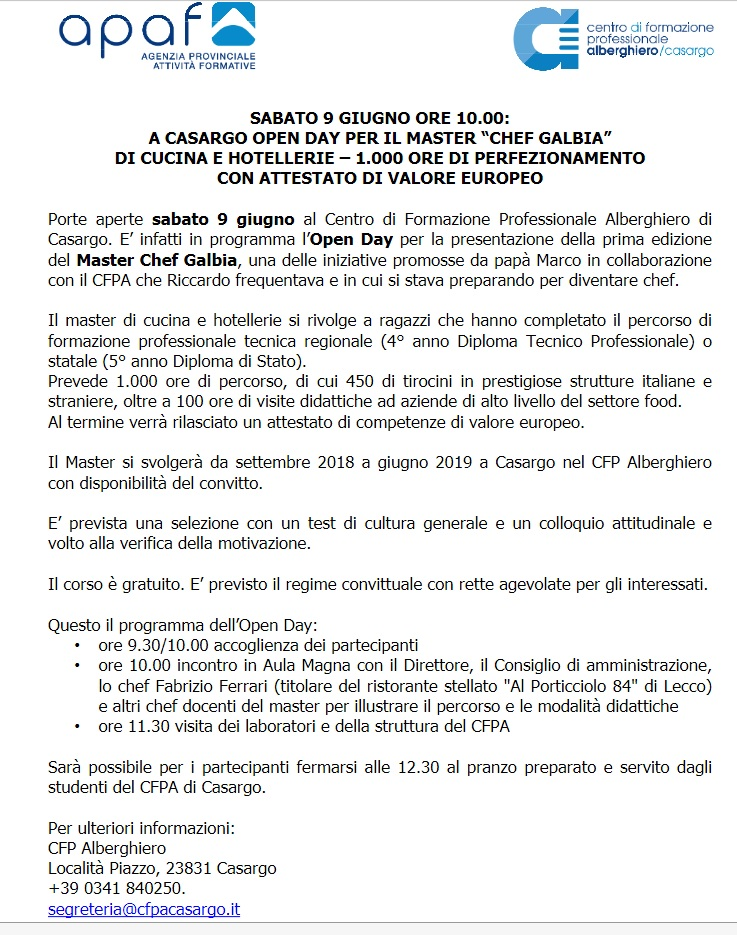 open day apaf chef galbia