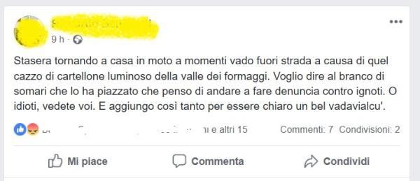 FB CONTRO TABELLONE LUMINOSO
